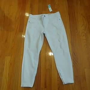 Pistola White Distressed Ankle Zip Jeans